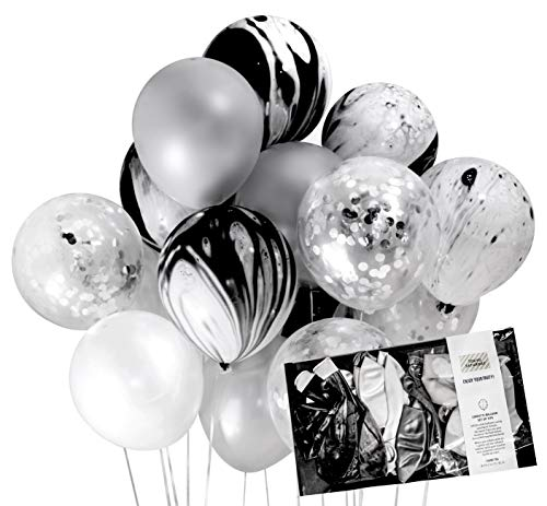 Black and Silver Party Decoration Marble Confetti Balloon (Thickened 12