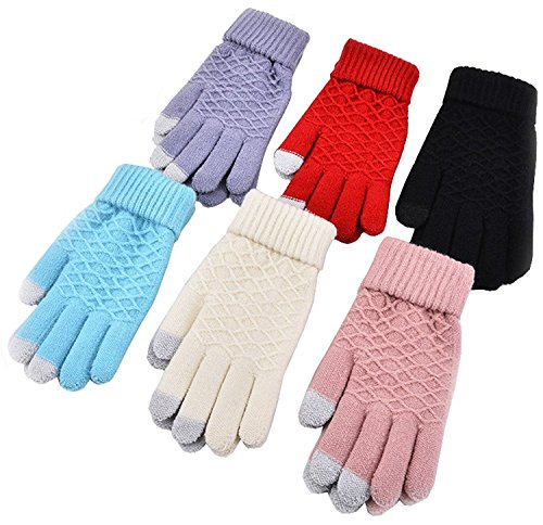 Tech Package (Gellwhu Smart Touchscreen Tech Unisex Outdoor Warm Knit Winter Gloves 6 Pack)