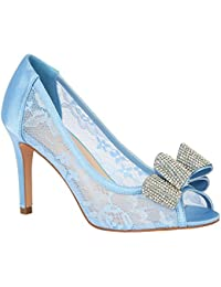 Women's Formal Lace Peep Toe Mid Heel Pump with Rhinetone...