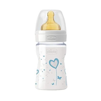 Chicco Wellbeing - Biberón de vidrio/cristal con tetina látex anti cólicos, flujo normal, 150 ml, bebés 0 m+, color azul