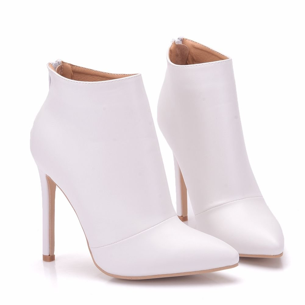 Sogala Bridal White Boots for Women Women for Ankle Bootie Wedding Accessaries for Bride High Heels 11 cm B078JFK34C Bootie 01979d