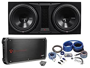 rockford fosgate p3 2x12 dual 12 quot 2400w loaded vented subwoofer box amp wire kit