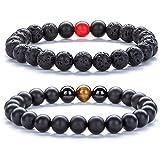 Hamoery Men Women 8mm Tiger Eye Stone Beads Bracelet Elastic Natural Stone Yoga Bracelet Bangle-21003 (Set 4)