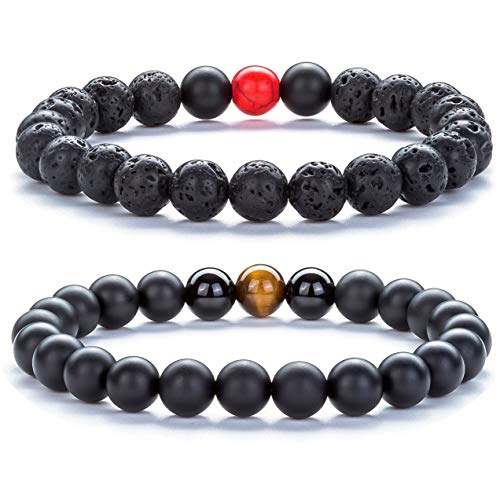 (Hamoery Men Women 8mm Tiger Eye Stone Beads Bracelet Elastic Natural Stone Yoga Bracelet Bangle-21003 (Set 4))