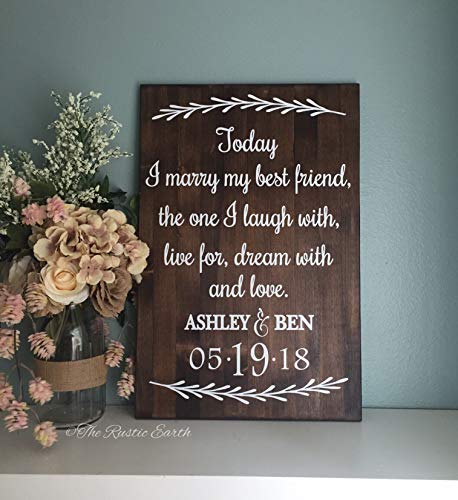 CELYCASY Today I Marry My Best Friend Sign Love Story Wedding Sign Wedding Decor Wood Sign Wedding Gift]()