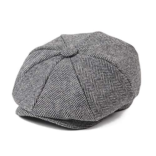 JANGOUL Boys Vintage Newsboy Cap Tweed Flat Beret Cabbie Hat for Kids Toddler Pageboy (54cm(4-5 Years Old), Grey)