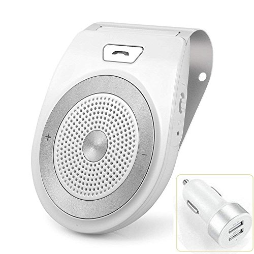 Bluetooth Car Kit Handsfree, Aigital Wireless Speakerphone Motion AUTO POWER ON Audio Receiver Sun Visor Speaker Music Player Adapter Built-in Mic - White