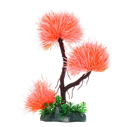 uxcell Aquarium Fish Tank Decoration Aqua Landscape Plastic Plant Orange -