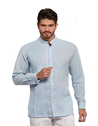 ef58544934 GUAYABERASCUBANAS Chinese Collar or Mao Collar Mexican Guayabera. Luxury  Party Wedding Guayabera. No Pockets at Amazon Men s Clothing store