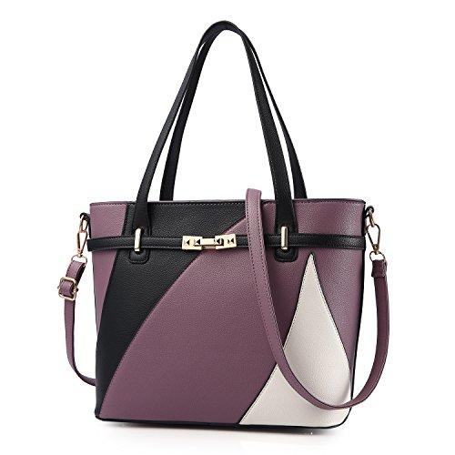 Top Handle Bags for Women Leather Tote Purses Handbags Satchel Crossbody Shoulder Bag form Nevenka (Purple) by Nevenka