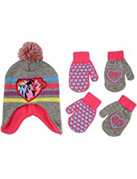 Hasbro My Little Pony Hat and 2 Pair Gloves or Mittens Cold Weather Set, Little Girls, Age 2-7 (Grey, Pink Design - Age 2-4 - Mittens Set)
