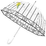 Kung Fu Smith Birdcage Bubble Clear Umbrella for Rain, Windproof Transparent Stick Umbrella
