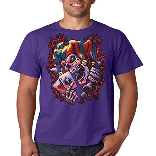 Evil Clown T Shirt Wicked Jester Liquid Blue Mens Tee S-5XL (Dark Purple, (Wicked Jester Tattoos)