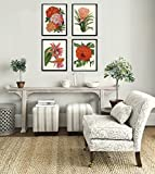Beautiful set of 4 prints based on antique botanical illustrations from 1802. Wonderful details, colors and natural history feel. • The prints measure 4x6, 5x7, 8x10, 11x14, 13x19, and 16x20 inch. based on your selection and come with a white...