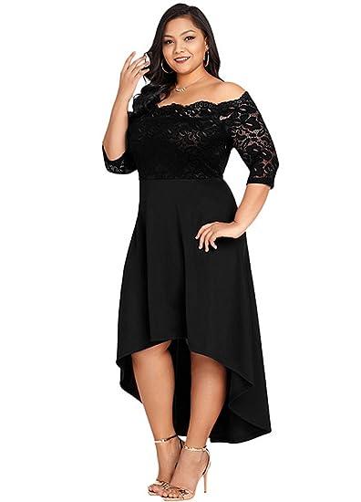 f616a207bfbf Jose Pally Women s Plus Size Lace Maxi Dress Off Shoulder Vintage Floral  3 4 Sleeve