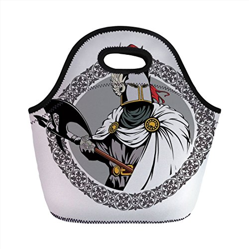 Neoprene Lunch Bag,Medieval Decor,Illustration of the Medieval Knight