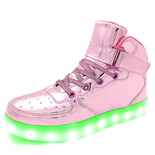 Pictures of APTESOL Flashing Rechargeable Fashion LED Sneakers Youth Kids Toddler Cute Shoes for Halloween Xmas School Party Birthday Best Gift (Pink Little Kid Size 11) 8