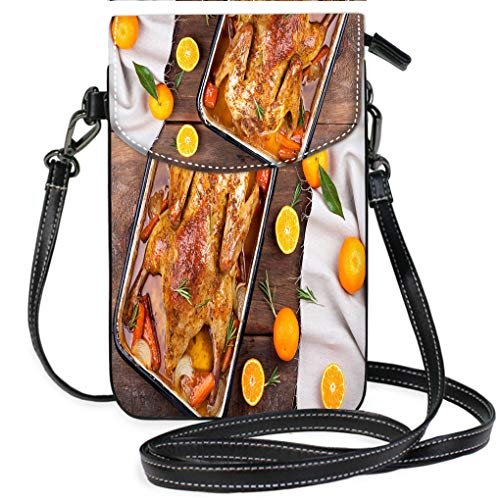(Multicolor Shoulder Messenger Bag Phone Purse Roasted Duck with Vegetables Citrus and Rosemary Christmas Festive Table Casual, Lightweight Multi Pockets Crossbody Bag)