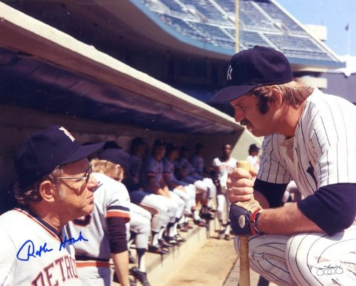Wells Signed Photo - Ralph Houk (D. 2010) Autographed/ Original Signed 8x10 Color Photo As Manager in the Detroit Dugout Talking to Thurman Munson - Interesting Photo Since It Was Well-known Houk Was Hoping to Lure Munson From the NY Yankees to the Tigers At the Time - Munson was Tragically Killed Later in a Plane Crash - JSA Authentication Sticker