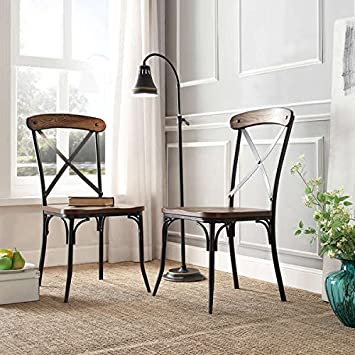 Amazon Com Nelson Industrial Modern Rustic Cross Back Dining Chair Set Of 2 By Tribecca Home Chairs