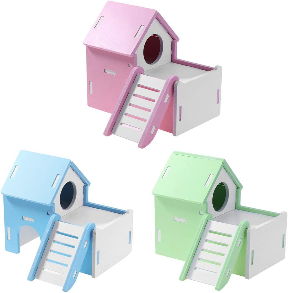 zhenleisier Double Deck Animal Rat Mouse Hamster Nests House Small Pet Climbing Toy Blue