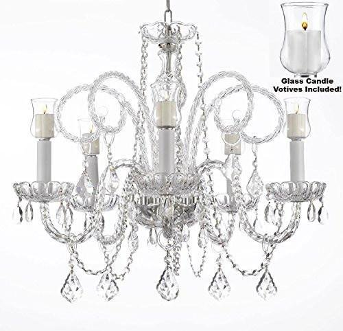 Crystal Chandelier Lighting Chandeliers W/Candle Votives H25 x W24- For Indoor/Outdoor Use! Great for Outdoor Events, Hang from Trees/Gazebo/Pergola/Porch/Patio/Tent ! -