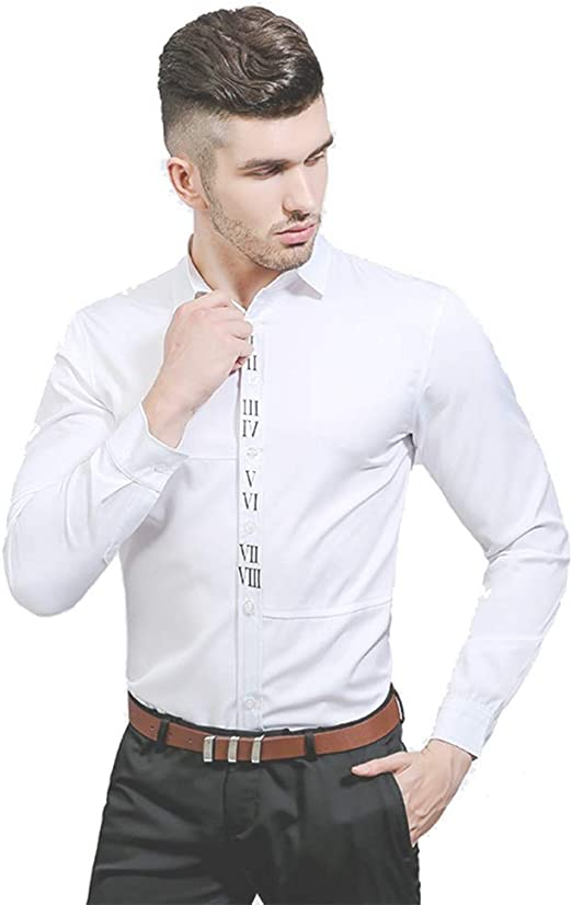 Asdflina Camisa de la Solapa del Cuerpo del Color sólido de la impresión Digital árabe del