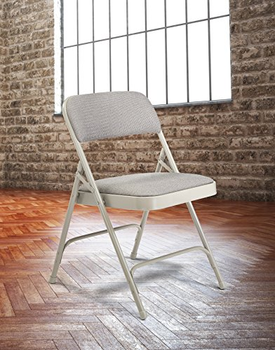 National Public Seating 2200 Series Steel Frame Upholstered Premium Fabric Seat and Back Folding Chair with Double Brace, 480 lbs Capacity, Model 2202 Graystone/Gray (Carton of 4)