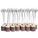 miaomiaojia Rustic Real Wood Base Wedding Table Card Holder Party Decoration Card Holders Picture Memo Note Card Photo Clip Holder (20 Pcs)