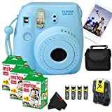 Fujifilm Instax Mini 8 Instant Film Camera (Blue) + (3) Fujifilm INSTAX Mini Instant Film (Twin Pack) + Pixi-Basic Accessory Bundle