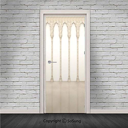 Pillar Decor Door Wall Mural Wallpaper Stickers,Architecture Theme Wall with Graceful Columns and Arches Digital Image,Vinyl Removable 3D Decals 30.4x78.7/2 Pieces Set,for Home Decor Beige and White ()