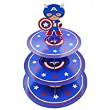 Betop House 3-Tire Captain America Themed Party Cupcake Dessert Stand