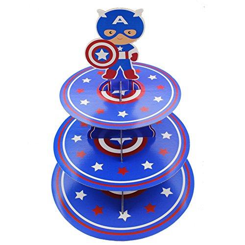 Betop House 3-Tire Captain America Themed Party Cupcake Dessert -