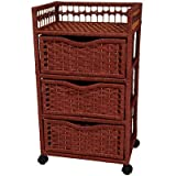 Oriental Furniture Best Price Quality Tall Design End Table, 30-Inch Rattan Style Natural Fiber 3 Drawer Chest with Swivel Casters, Mahogany