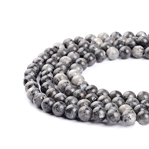 4mm Round 100 Unique Beads - 4mm Natural Black Labradorite Beads Round Gemstone Loose Beads for Jewelry Making (95-100pcs/strand)