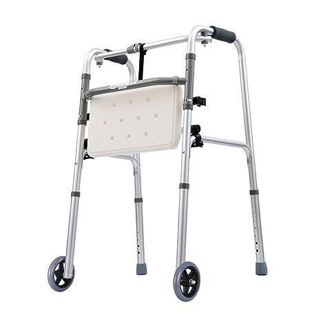 Andador plegable Soporte con ruedas delanteras con asiento ...