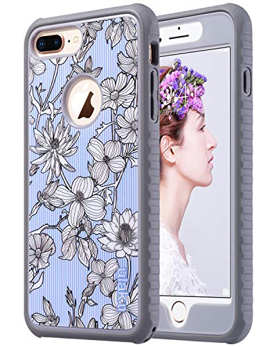 ULAK iPhone 8 Plus Case, Floral Heavy Duty Shockproof Flexible TPU Bumper Durable Anti-Slip Lightweight Front and Back Hard Protective Safe Grip Cover for Apple iPhone 8 Plus (Pinstripes Flowers)
