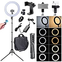 Fotoconic 80W 18 Inches/48cm Bi-color Dimmable LED Ring Light with 6 feet Stand, 360 Degree Swivel Phone Holder for Studio Photo Video Portrait Selfie (2700K~5500K)