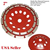 MTP 7'' Double Row 28 Segments 7/8''-5/8'' Arbor Diamond Grinding CUP Wheel Disc Grinder Granite Concrete Granite Stone For Angle Grinder Turbo Wet or Dry