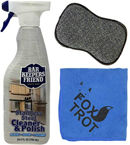 Bar Keeper's Friend Stainless Steel Cleaner and Polish Cleaning Kit - Includes Bar Keeper's Friend Stainless Steel Cleaner and Polish Spray - 1 Foxtrot Microfiber - 1 Foxtrot Dual Sided Scrub - Steel Stainless Cleaner Cookware