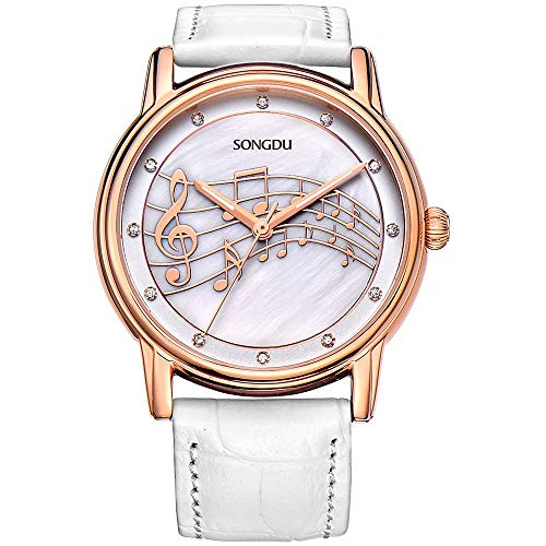 SONGDU Women Elegant Dress Rose Gold Watches with Mother Pearl Dial Music Note White Leather Strap ()