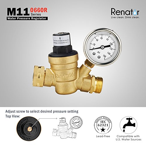 Trailer Pressure Regulator Valve Adjustable Water Pressure Reducer Valve for RV Campers RV Plumbing System