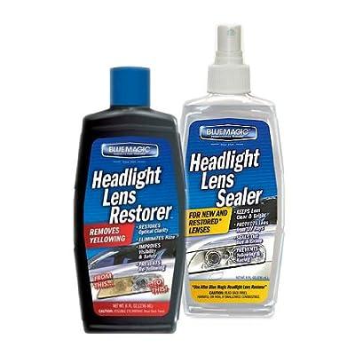 Blue Magic Headlight Lens Restorer and Sealer Kit, Removes & Prevents Yellowing