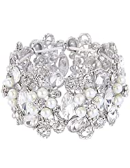 Ever Faith Silver-Tone Crystal Cream Simulated Pearl Floral Knot Elastic Stretch Bracelet Clear N07379-1