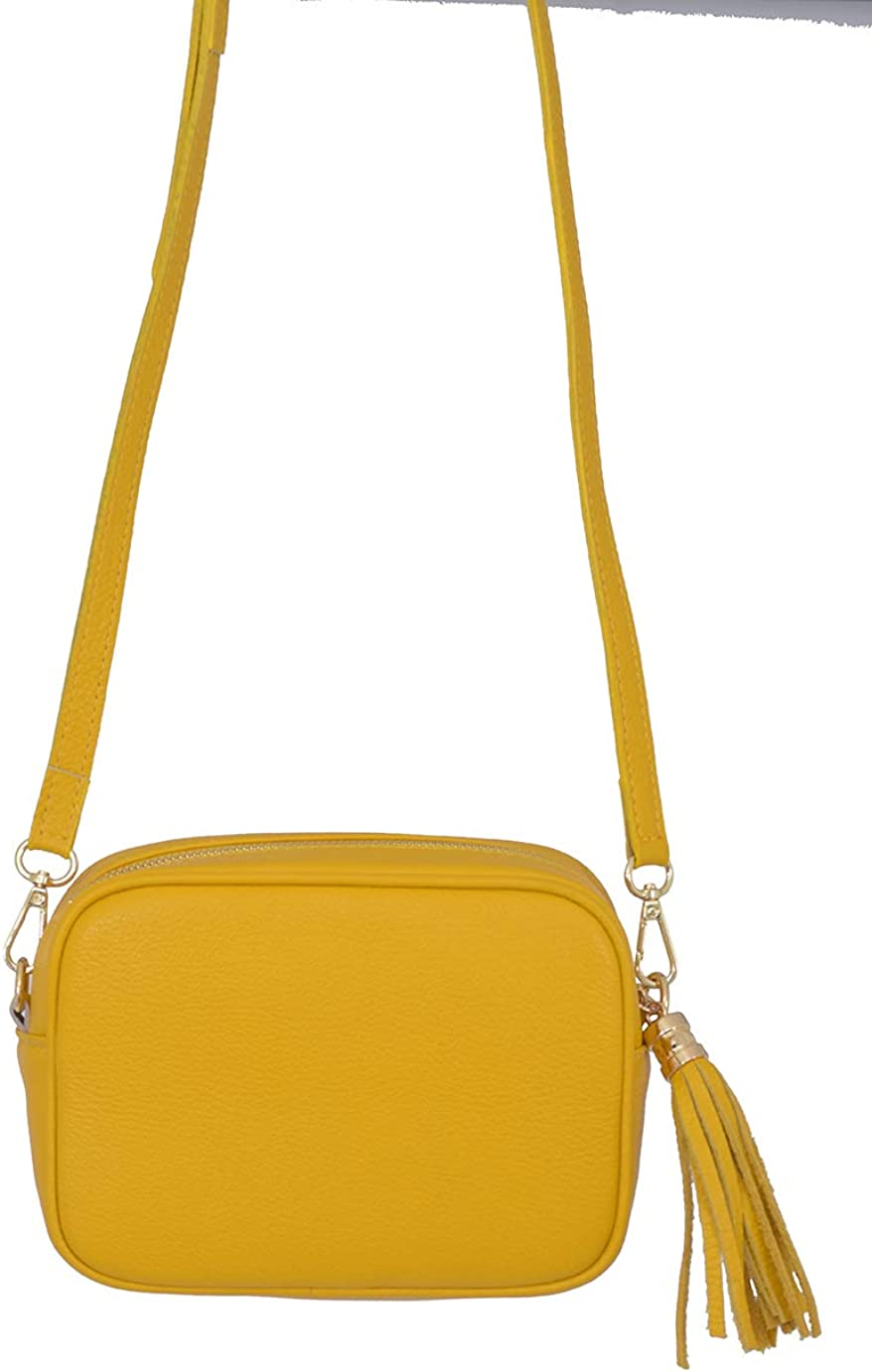 A to Z Leather Borsa da donna a tracolla morbida e compatta in vera pelle per donna con nappa in pelle e hardware dorato Giallo