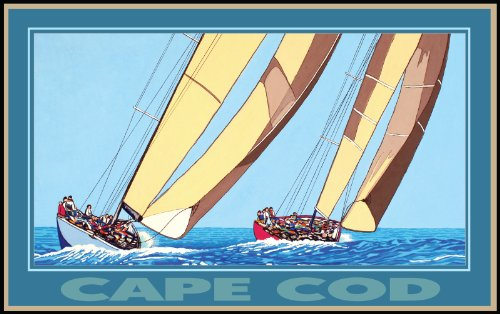 Northwest Art Mall Cape Cod Massachusettes Two Sailboats by David Linton Wall Decor, 11-Inch by - Mall Cape Of Cod