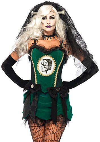 Monsters Bride Costume (Leg Avenue Women's 4 Piece Deluxe Bride Of Frankenstein Costume, Black/Green, Large)