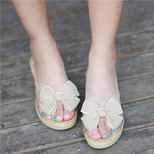 KHSKX-Zapatos Para La Mujer La Primavera De Tacon Zapatos De Playa Agua De Mesa Y Dulce Princesa ZapatillasTreinta Y CuatroBeige