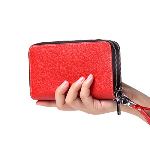 Contacts Womens Genuine Leather Multifunction Card Key Clutch Wallet Wristlet Orange