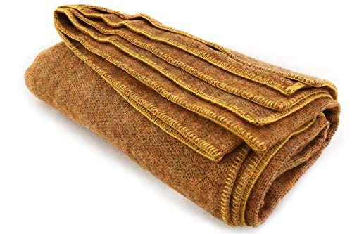 "Large 100% Wool Blanket, Marigold Yellow - Measures 90"" by 108"""